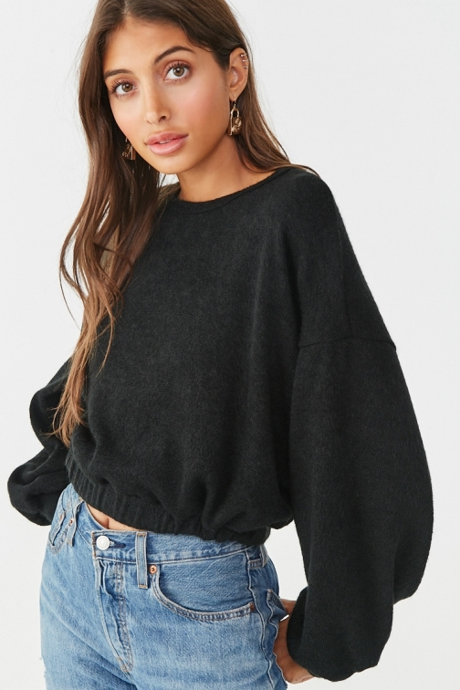 Forever21 Forever 21 Brushed Balloon Sleeve Sweater , Black Sweatshirt