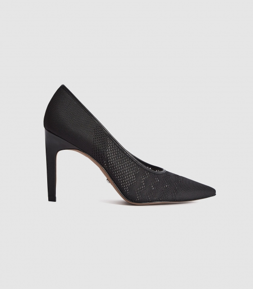 Reiss Zena - Mesh Shoes Black, Womens, Size 4 Court