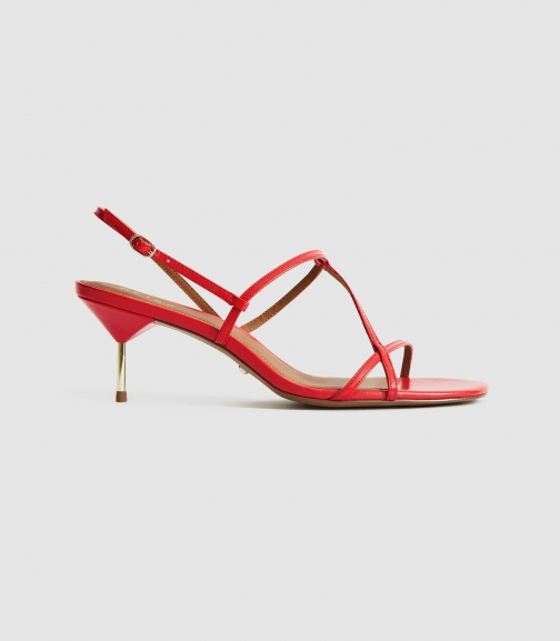 Reiss Ophelia - Leather Strappy Kitten Heels Red, Womens, Size 3 Sandals