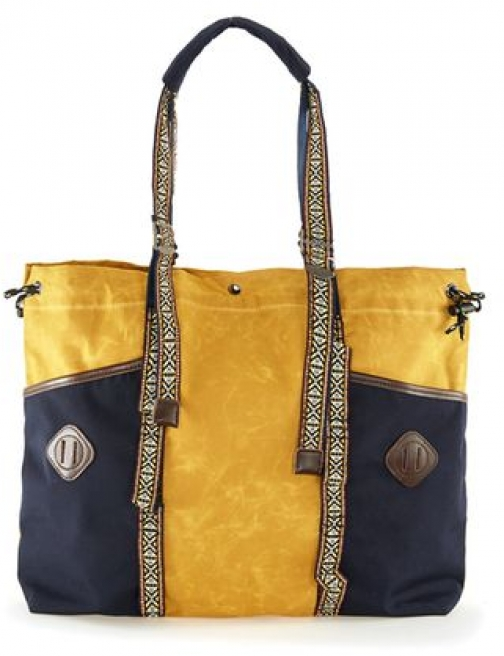 Topman Mens Multi Yellow And Navy Waxed Cotton Holdall , Multi Bag