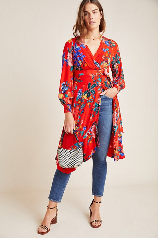 Anthropologie Boswell Textured Wrap Tunic Tunic Dress