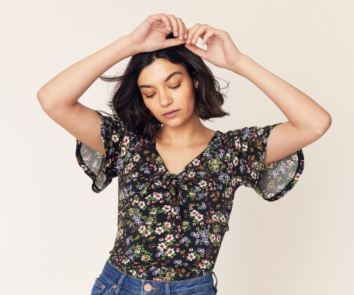Oasis Ditsy Tie Front Top