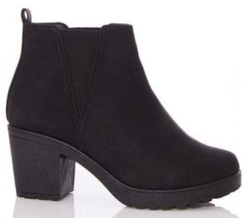 Quiz Wide Fit Black Chunky Heel Ankle Boot