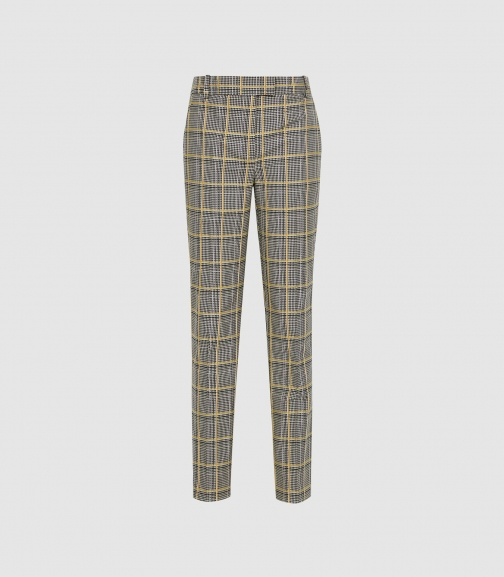 Reiss Joanne Check - Check Slim Fit Trousers Yellow Check, Womens, Size 4 Trouser