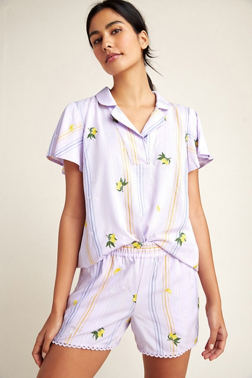 Anthropologie Lemon-Embroidered Sleep Short