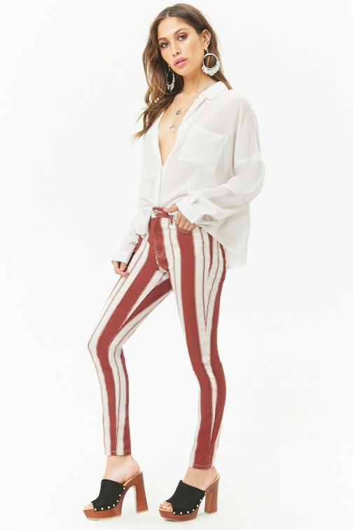 Forever21 Forever 21 Striped High-Rise Cream/wine Jeans