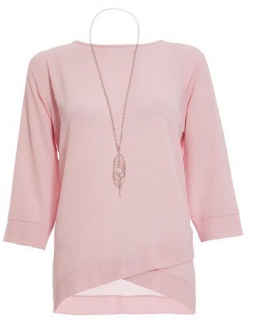 Quiz Pink Crossover Top Necklace