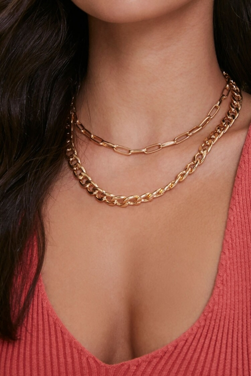 Forever21 Layered Chain At Forever 21 , Gold Necklace