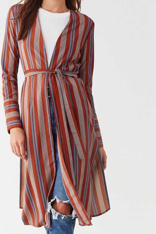 Forever21 Forever 21 Striped Print , Rust/blue Cardigan