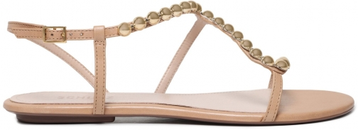 Schutz Shoes Janda Flat Sandal - 5 Honey Beige Leather Sandals