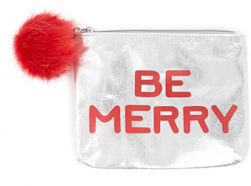 Forever21 Forever 21 Be Merry Graphic Makeup Silver/multi Pouch