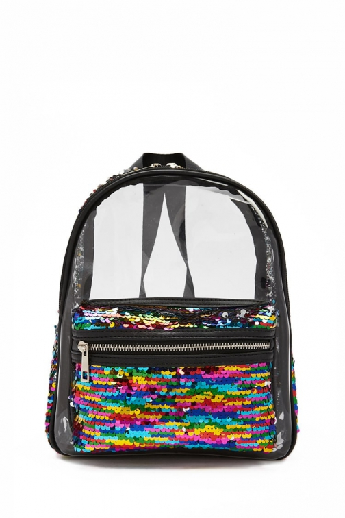 Forever21 Forever 21 Rainbow Sequin Transparent , Black/multi Backpack