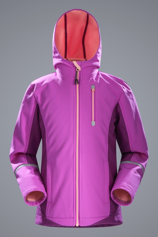 Mountain Warehouse Ultra Kids Longline Softshell - Purple Jacket