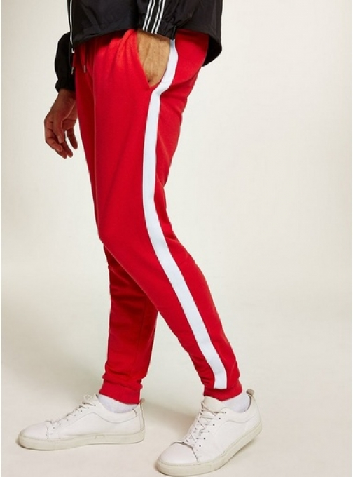 Topman Mens Multi Red And White Side Taping Joggers, Multi Athletic Pant