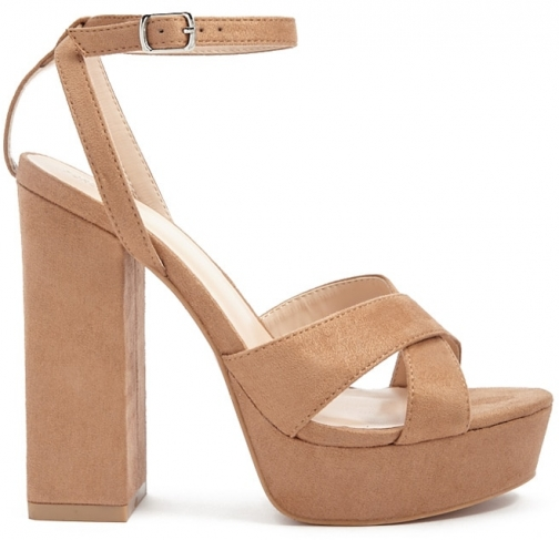 Forever21 Forever 21 Faux Suede Crisscross Block Heels , Nude Shoes