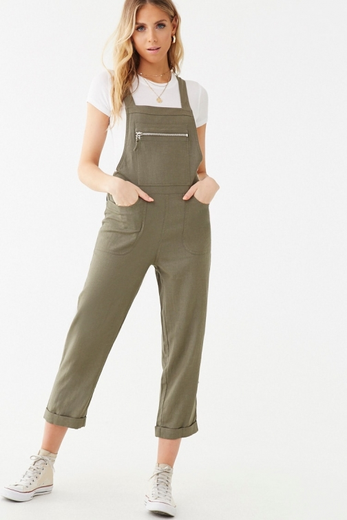 Forever21 Forever 21 Cuffed Linen-Blend Overalls , Olive Jumpsuit
