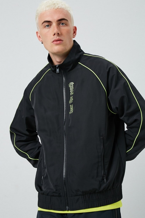 21 Men Fear The Youth Graphic Windbreaker At Forever 21 , Black/lime Jacket