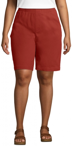 """Lands' End Women's Plus Size Mid Rise Elastic Waist Pull On 10"""" Chino Bermuda - Lands' End - Red - 16W Short"""