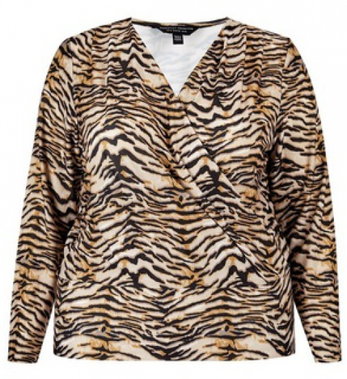 Dorothy Perkins Dp Curve Multi Colour Animal Print Wrap Top