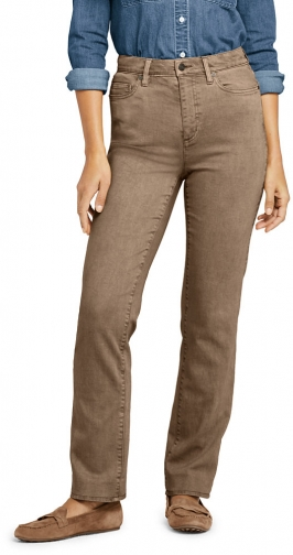 Lands' End Women's High Rise - Color - Lands' End - Brown - 4 30 Straight Leg Jeans