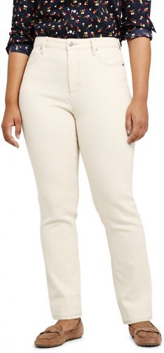 Lands' End Women's Plus Size Mid Rise - Natural Off White - Lands' End - Ivory - 16W28 Straight Leg Jeans