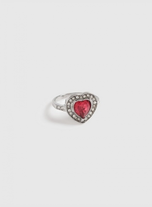 Dorothy Perkins Silver And Pink Heart Gem And Rhinestone Ring
