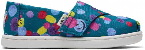 Toms Deep Lake Happy Dot Print Tiny TOMS Classics Slip-On Shoes