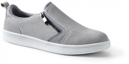 Lands' End Women's Suede Zip Sneakers - Lands' End - Gray - 8H Trainer