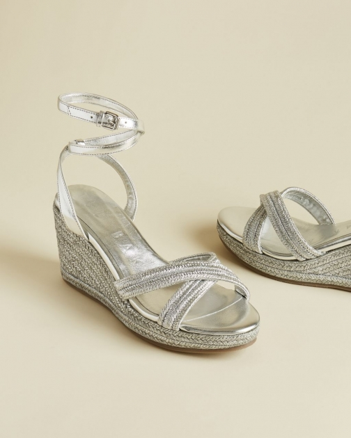 Ted Baker Leather Metallic Wedges Espadrille