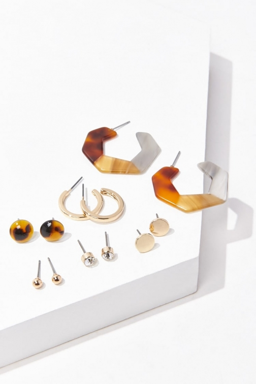 Forever21 Forever 21 Assorted Stud & Hoop Earring Set , Gold/brown Jewellery