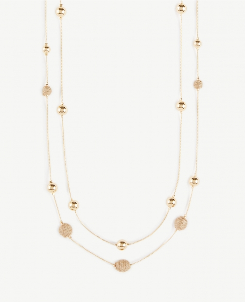 Ann Taylor Straw Beaded Illusion Necklace