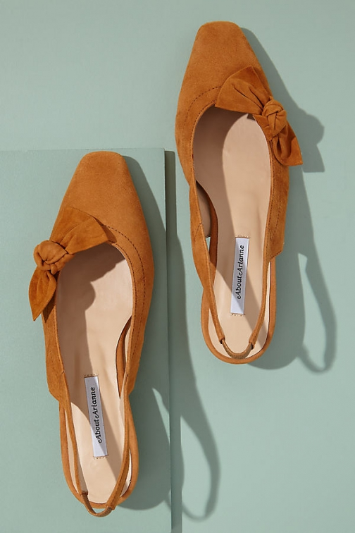 Anthropologie About Arianne Galo Bow-Detailed Suede Heels Shoes