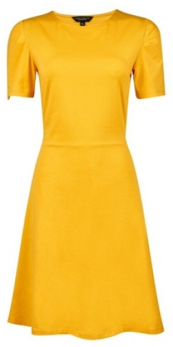 Dorothy Perkins Mustard Plain Tuck Fit And Flare Dress