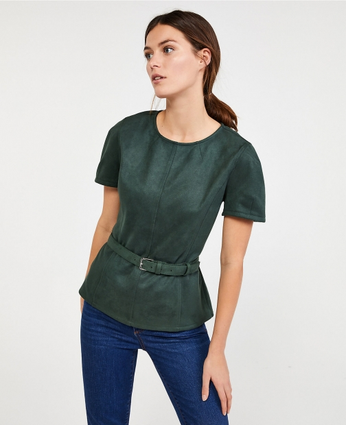 Ann Taylor Petite Faux Suede Belted Top Shirt