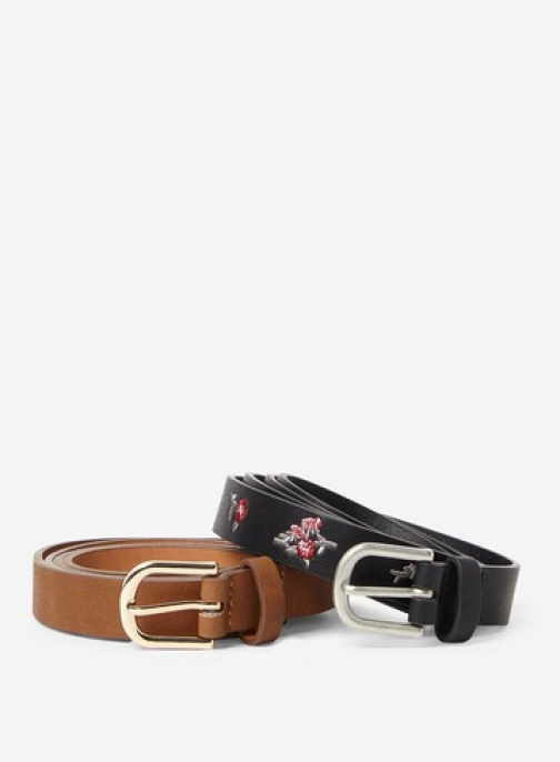 Dorothy Perkins 2 Pack Black And Tan Floral Detail Belt