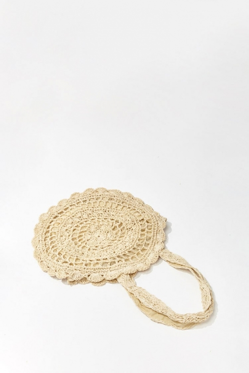 Forever21 Forever 21 Round Straw Cutout Bag , Beige Tote