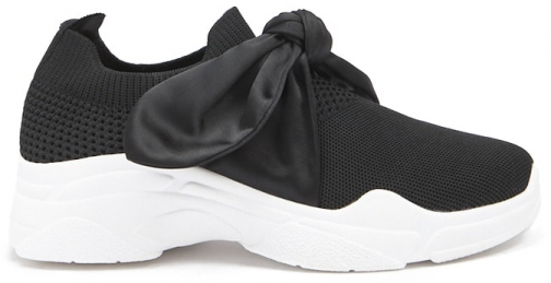 Forever21 Forever 21 Ribbon Laced Low Top Sneakers Black Trainer