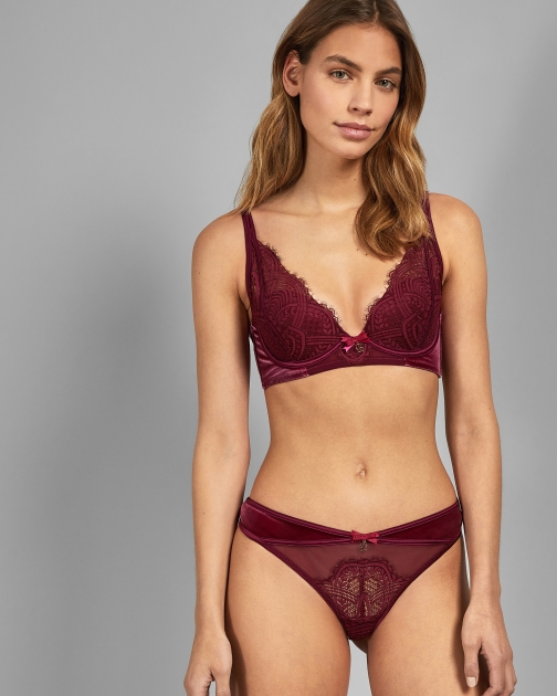 Ted Baker Velvet And Lace Thong