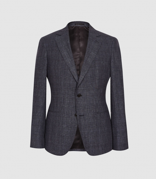 Reiss Prima - Linen Wool Blend Slim Fit Navy, Mens, Size 36 Blazer