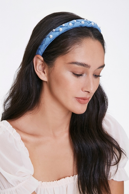 Forever21 Forever 21 Faux Pearl Braided Headband , Blue/white Headwear