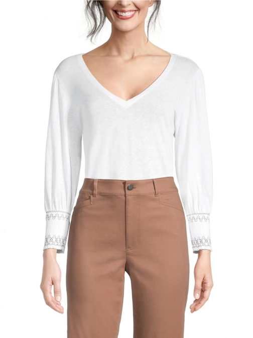 Ann Taylor Factory Stitched Cuff V-Neck Top