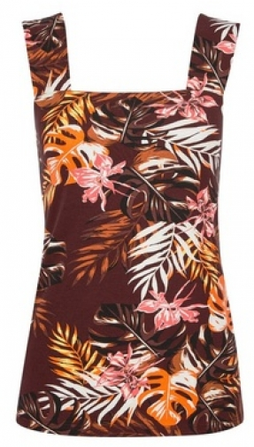 Dorothy Perkins Chocolate Leaf Print Vest Top