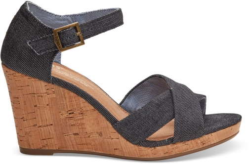 Toms Black Denim Women's Sienna - Size UK7.5 / US9.5 Wedge