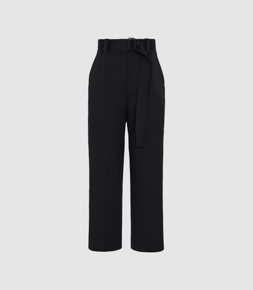 Reiss Emily - Seam Detail Belted Trousers Navy, Womens, Size 4 Trouser