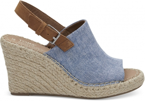 Toms Blue Chambray Women's Monica - Size UK7.5 / US9.5 Wedge