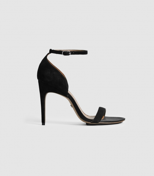 Reiss Paula - Suede Strappy Black, Womens, Size 8 Sandals