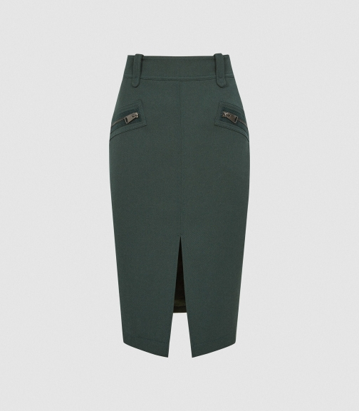 Reiss Kassidy - With Zip Detail Green, Womens, Size 4 Pencil Skirt