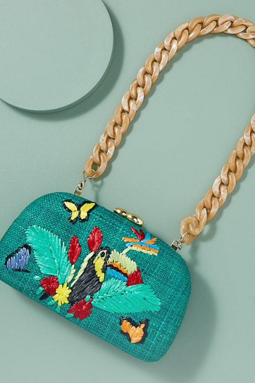 Anthropologie Mia Toucan-Embroidered Clutch