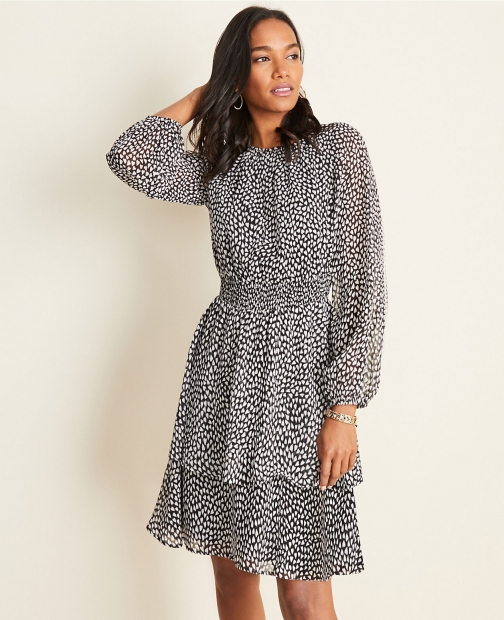 Ann Taylor Petite Heart Tiered Flare Dress