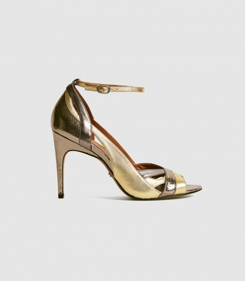 Reiss Florence - Metallic Strappy High Dark Grey, Womens, Size 3 Heeled Sandals